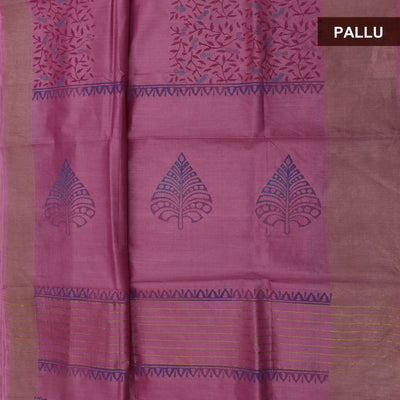 Pure Tussar Hand block printed saree Pink with zari border