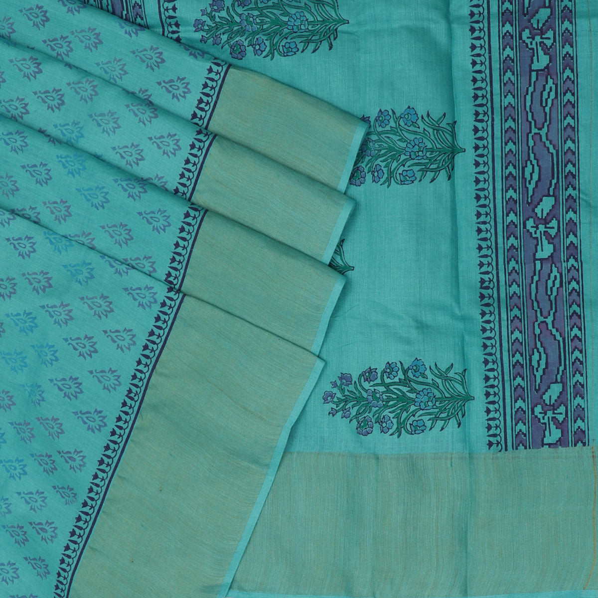 Pure Tussar Hand block printed saree Sky Blue with zari border