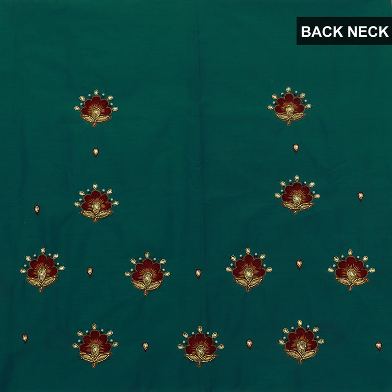 Blouse Material - Silk Cotton Peacock blue with Embroidery work