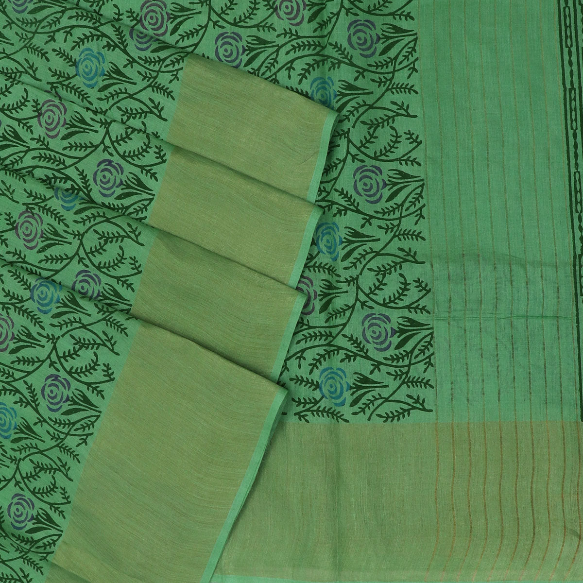 Pure Tussar Hand block printed saree Light Green with zari border