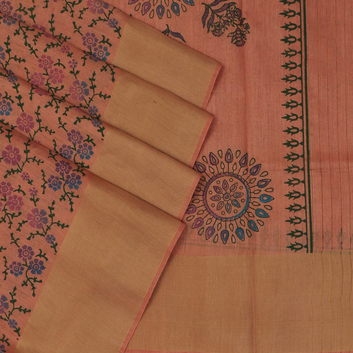Pure Tussar Hand block printed saree Orange with zari border