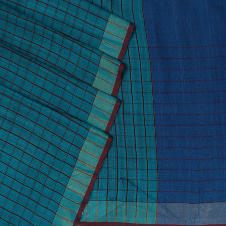 Pure Tussar Saree Sky Blue with Maroon Line and zari border