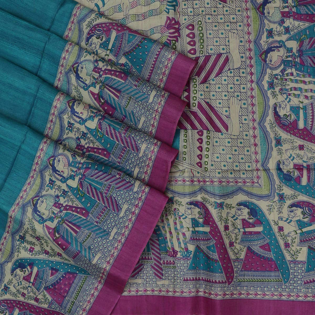 Pure Tussar Saree Peacock Blue and Pink with Kalamkari border