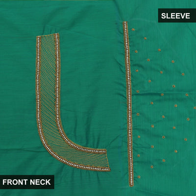 Blouse Material - Silk Cotton Peacock Green with Embroidery work