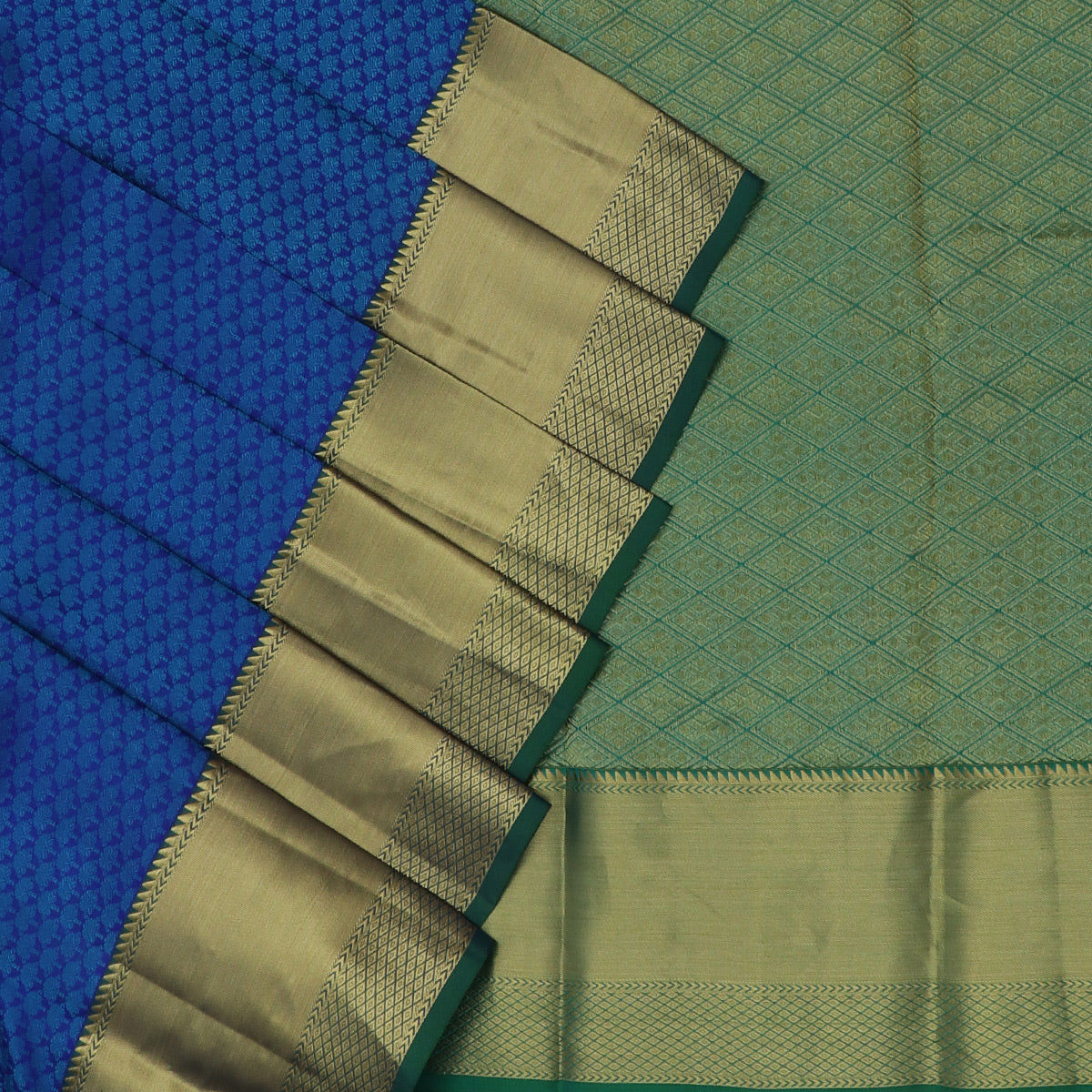 Kanjivaram Silk Saree Blue dual shade and Green with Zari Border