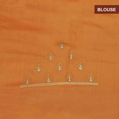 Pure Tussar Saree Light Orange with Floral Embroidery border