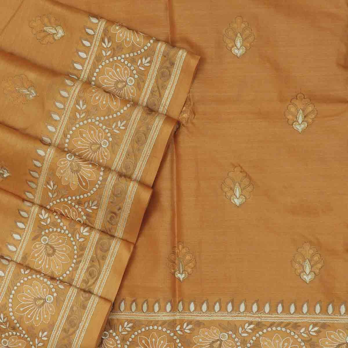 Pure Tussar Saree light Brown with Floral Embroidery border