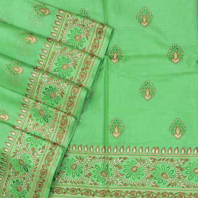 Pure Tussar Saree Parrot Green with Floral Embroidery border