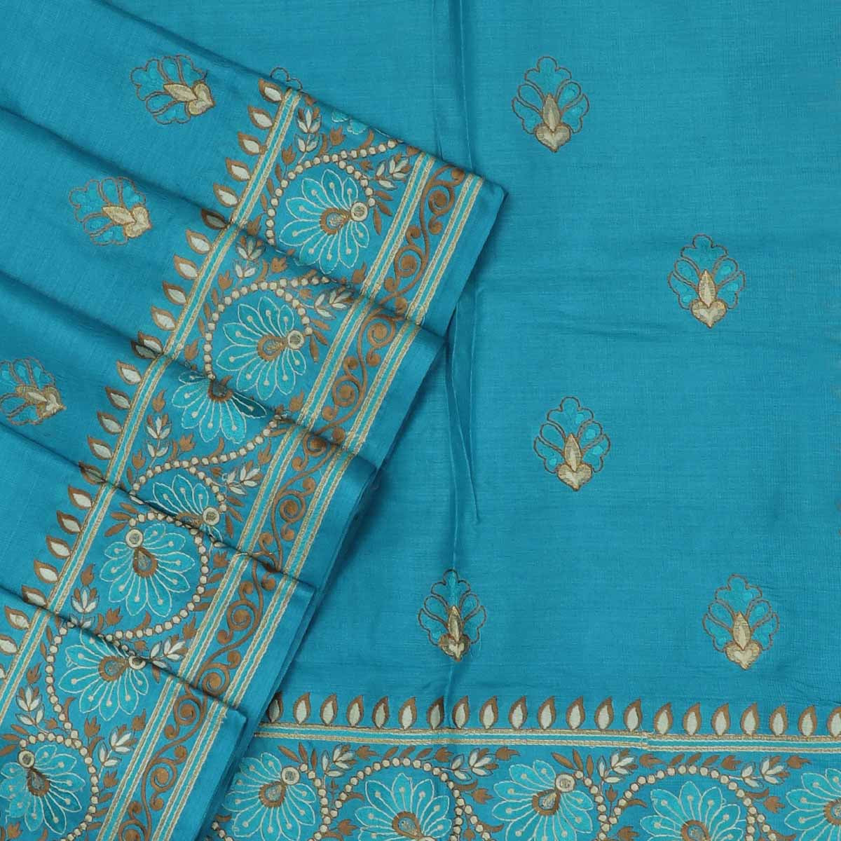 Pure Tussar Saree Sky Blue with Floral Embroidery border