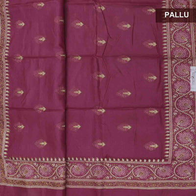 Pure Tussar Saree Onion Pink with Floral Embroidery border