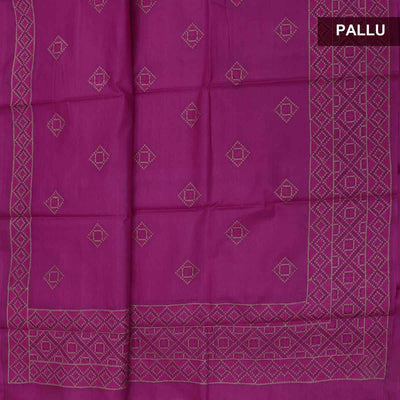 Pure Tussar Saree Dark Pink with Floral Embroidery border