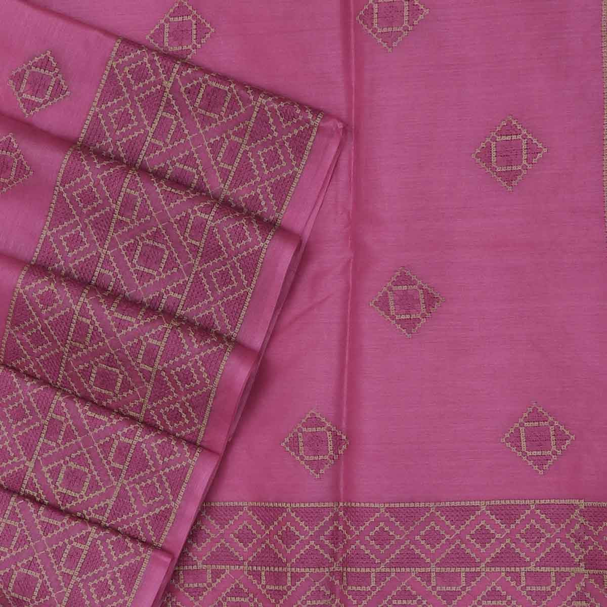 Pure Tussar Saree Light Pink with Simple Embroidery border