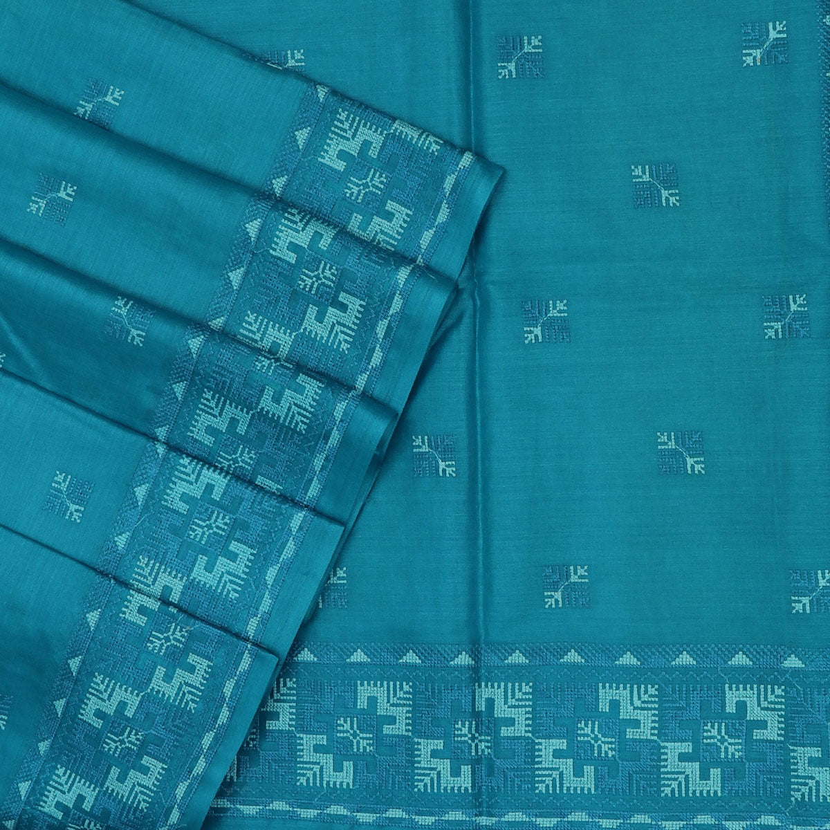 Pure Tussar Saree Sky Blue with Simple Embroidery border