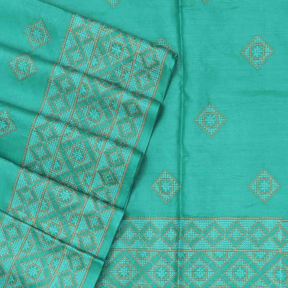 Pure Tussar Saree Sea Blue with Simple Embroidery border