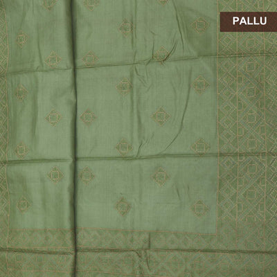 Pure Tussar Saree Fern Green with Embroidery and Simple border
