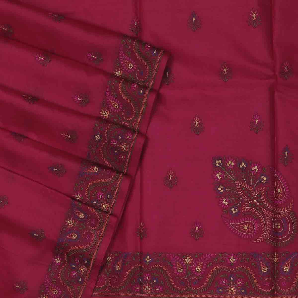 Pure Tussar Saree Red Shade with Embroidery border