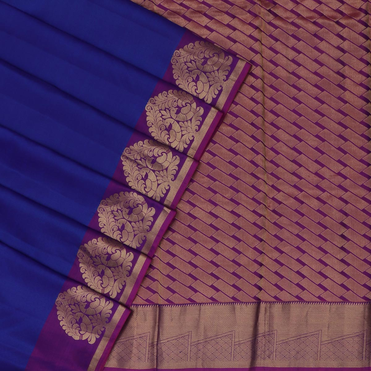 Kanjivaram Silk Saree Blue and Violet with Peacock Zari border