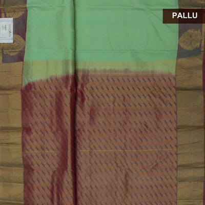 Kanjivaram Silk Saree Mint Green and Purple with Peacock Zari border