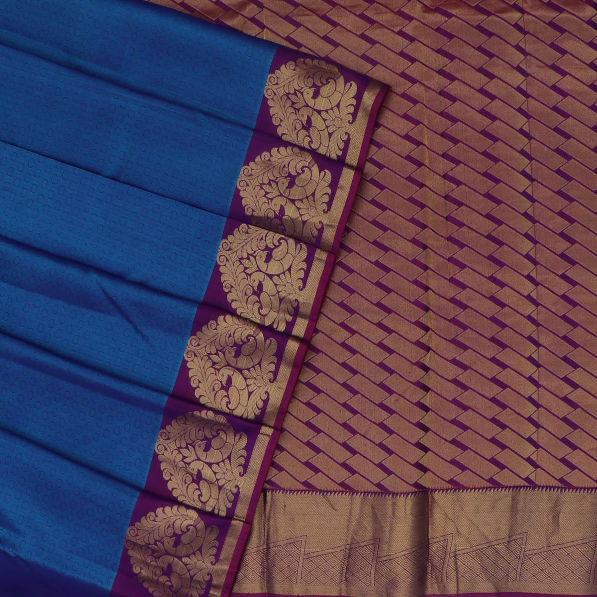 Kanjivaram Silk Saree Peacock Blue and Violet with Peacock Zari border
