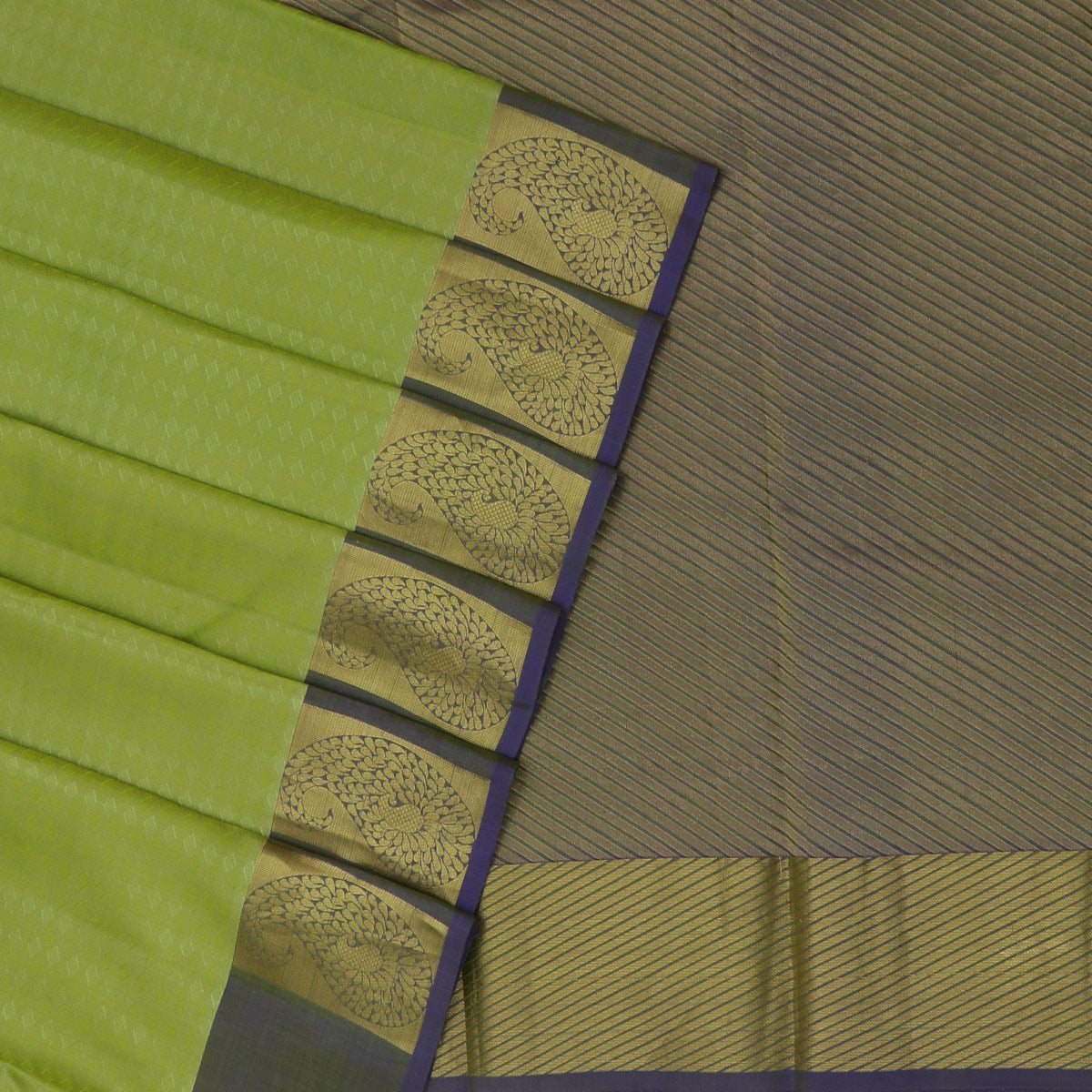 Kanjivaram Silk Saree Mint Green and Blue with Mango Zari border