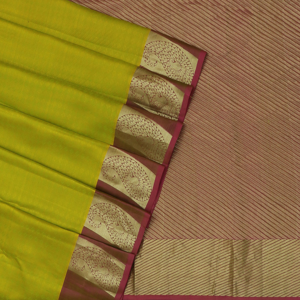 Kanjivaram Silk Saree Lime Green and Purple with Mango Zari border