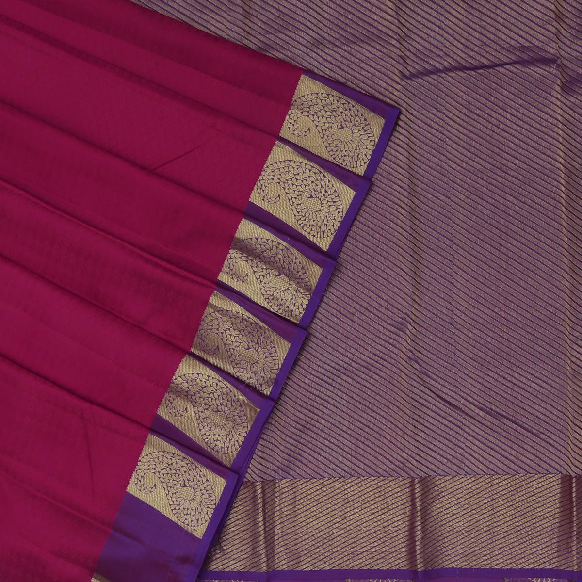 Kanjivaram Silk Saree Dark Pink with Light Orange Dual Shade and Violet with Mango Zari border