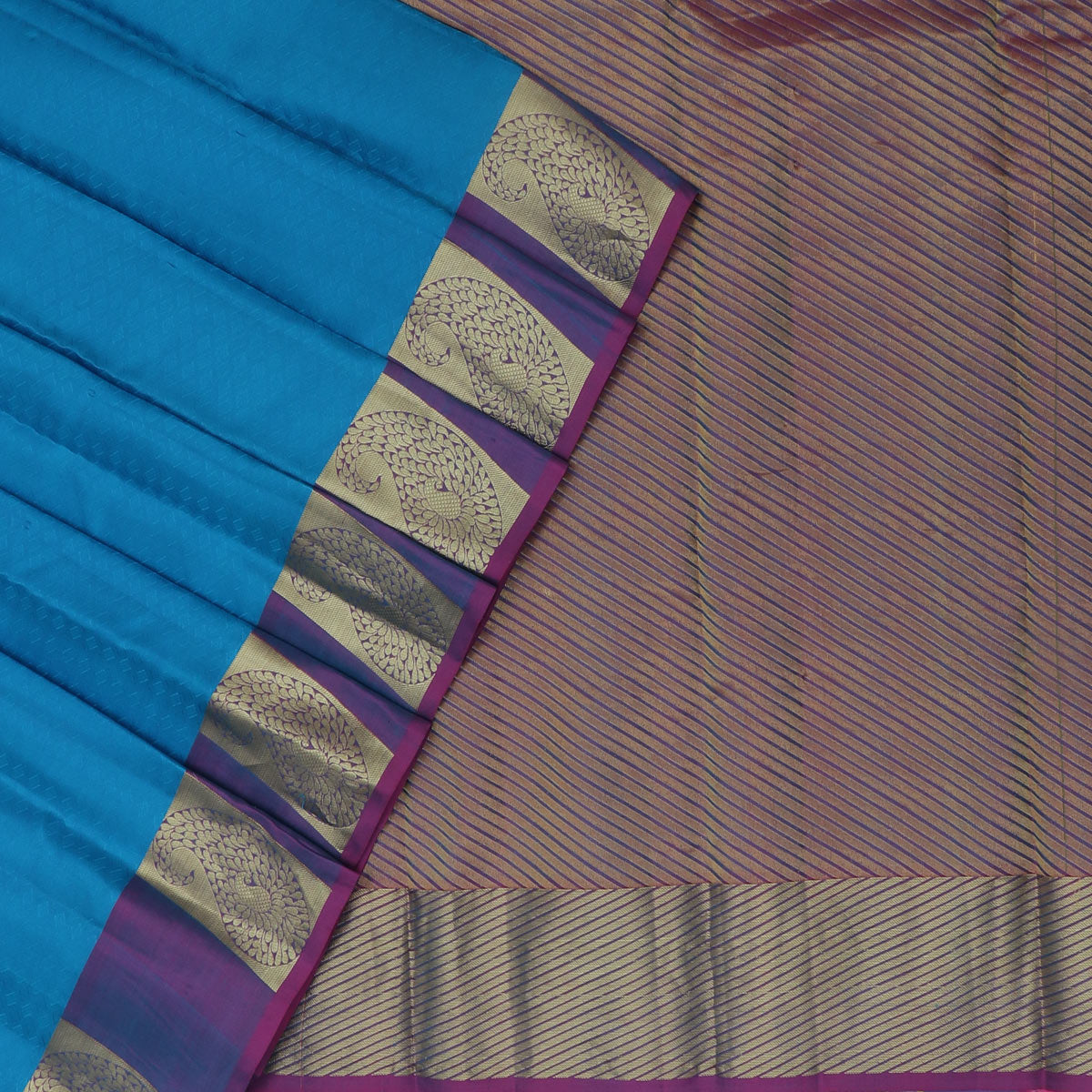 Kanjivaram Silk Saree Sky Blue and Purple with Mango Zari border