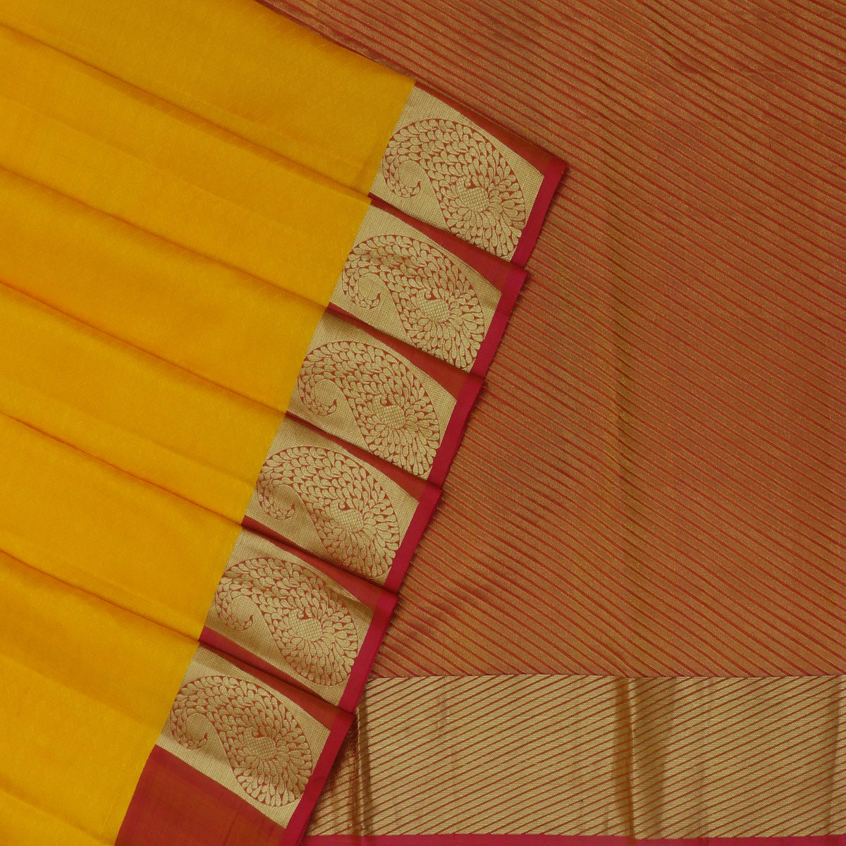 Kanjivaram Silk Saree Yellow and Pink Shade with Mango Zari border