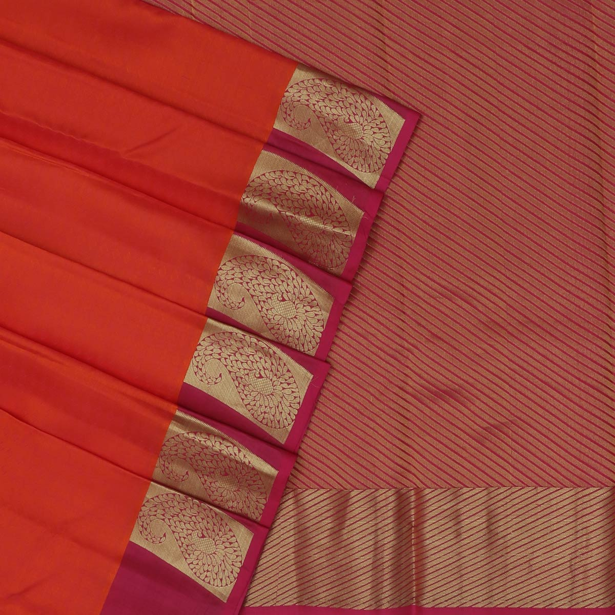 Kanjivaram Silk Saree Orange with Pink Dual Shade and Dark Pink with Mango Zari border