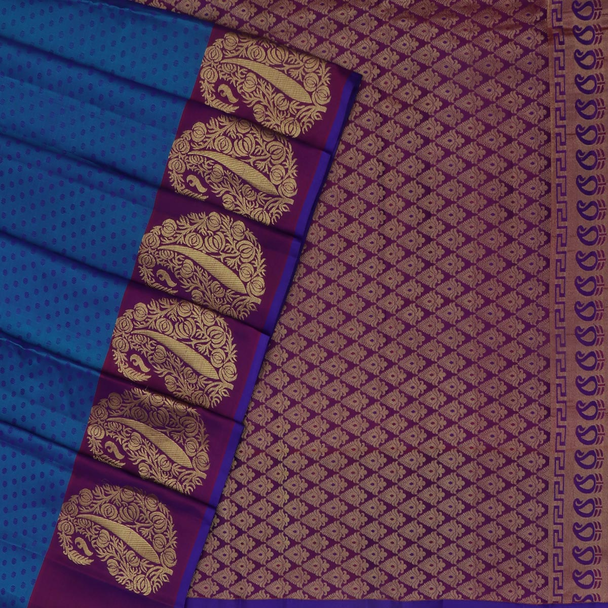 Kanjivaram Silk Saree Peacock Blue and Violet with Mango Zari border for Rs.Rs. 5880.00 | Silk Sarees by Prashanti Sarees