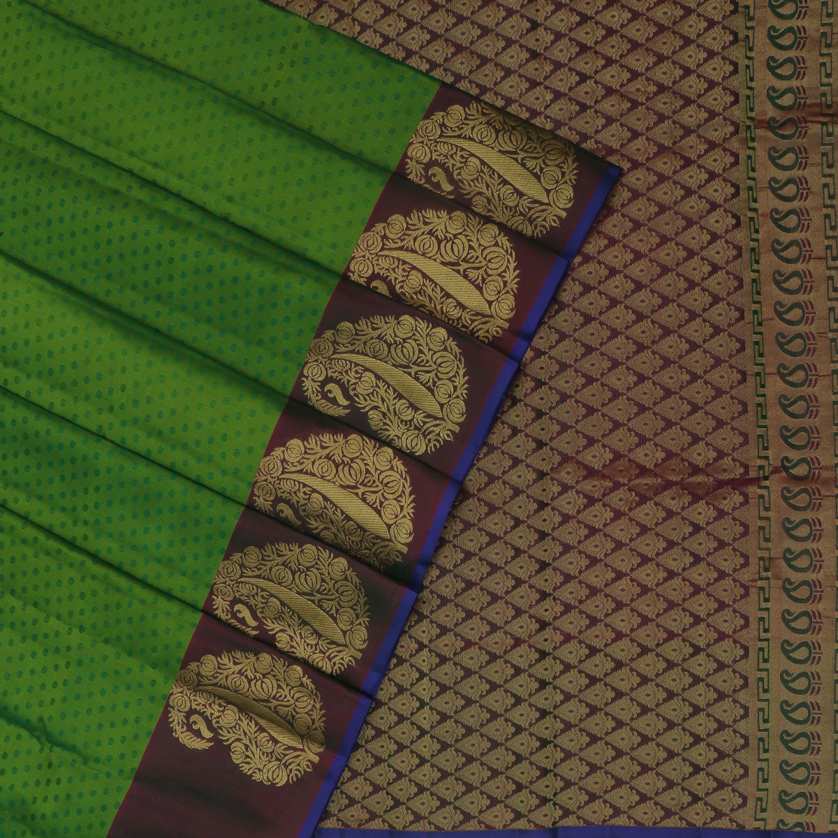 Kanjivaram Silk Saree Light Green and Purple with Mango Zari border