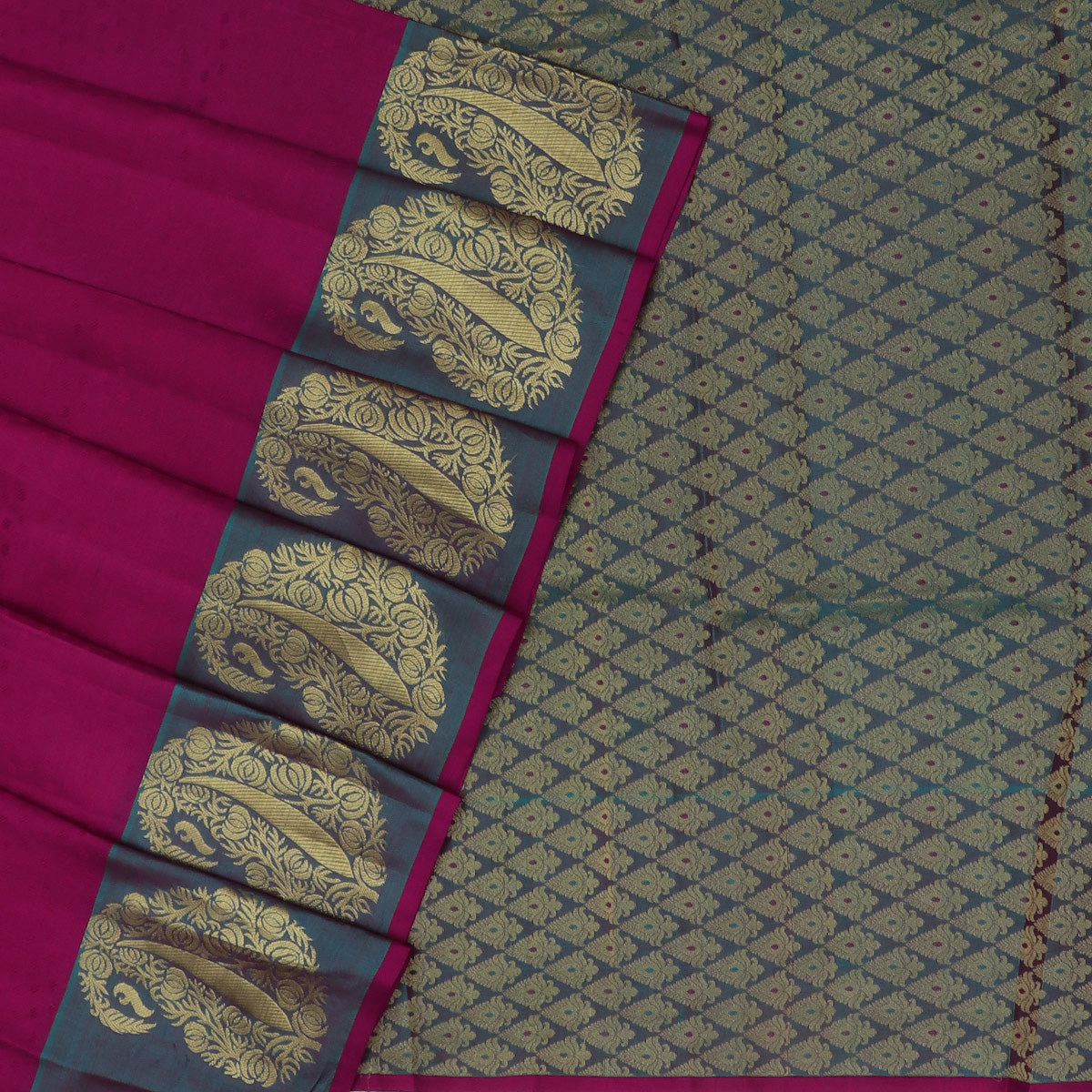 Kanjivaram Silk Saree Magenta and Purple with Mango Zari border