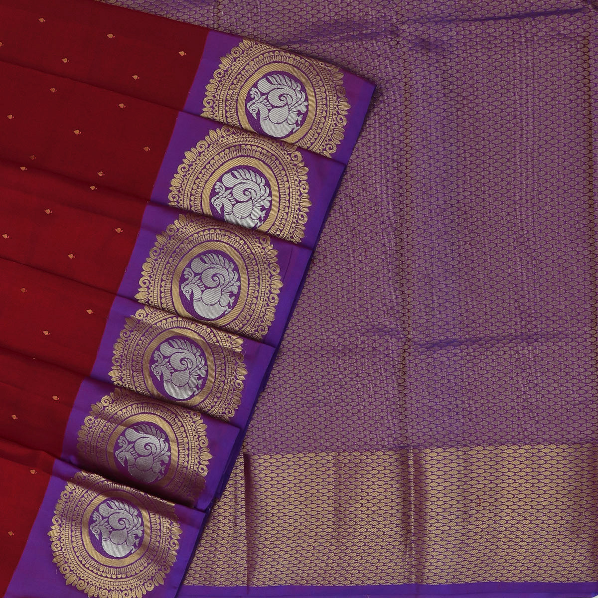 Kanjivaram Silk Saree Red with Butta and Violet  with Round Annam Zari border