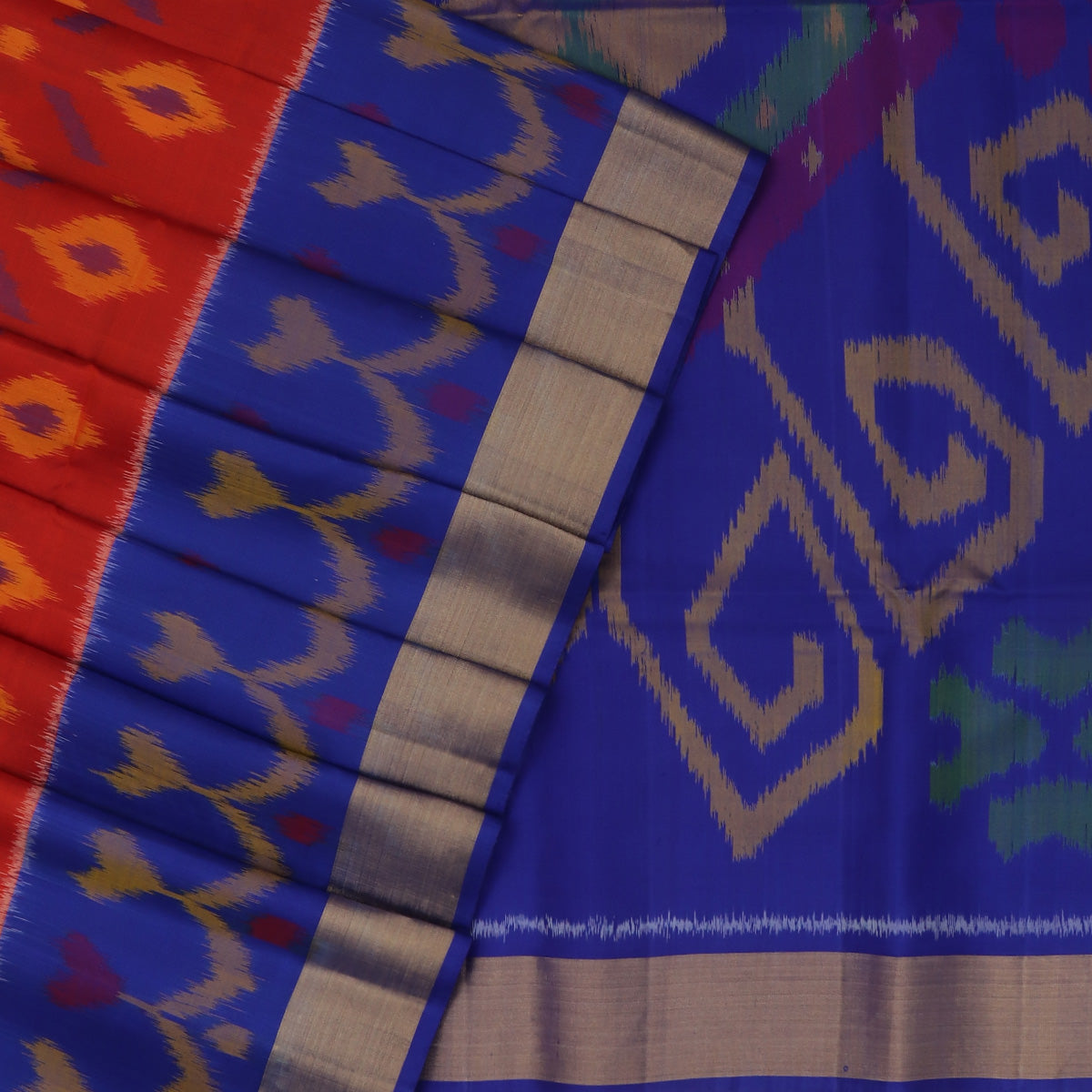 Pochampally Pure Silk Saree Brick Red and Blue with Ikkat Design and Zari border