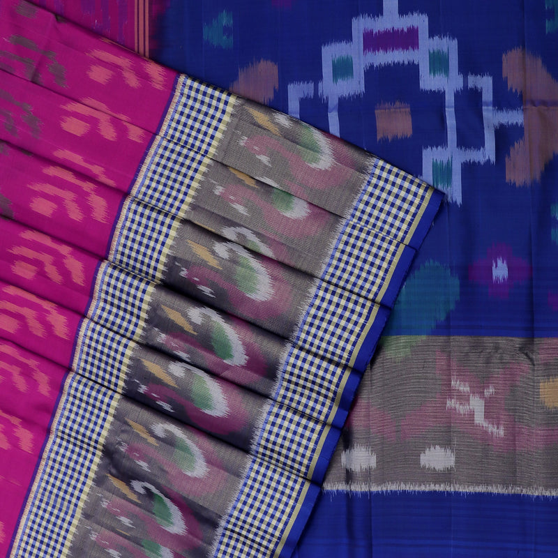 Pure Silk Saree Pink and Blue with Ikkat design and Small Checked border
