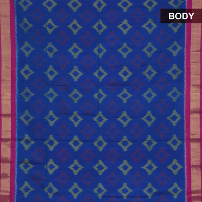 Pure Silk Saree Blue and Dark Pink with Ikkat design and SImple Zari border