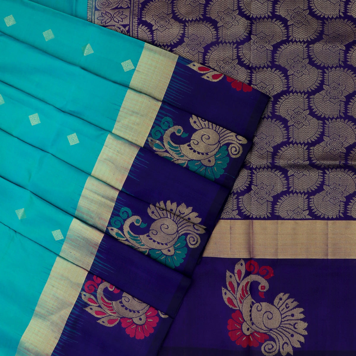 Soft Silk Saree Teal Blue and Blue with Diamond Butta and Annam  border