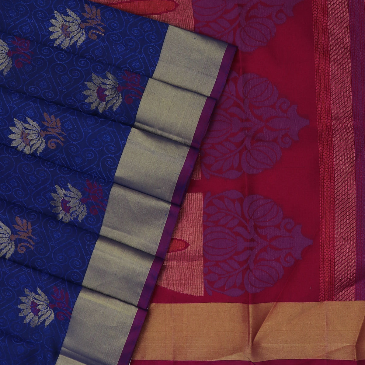 Soft Silk Saree Dark Blue and Pink with Emboss design and Simple Zari border