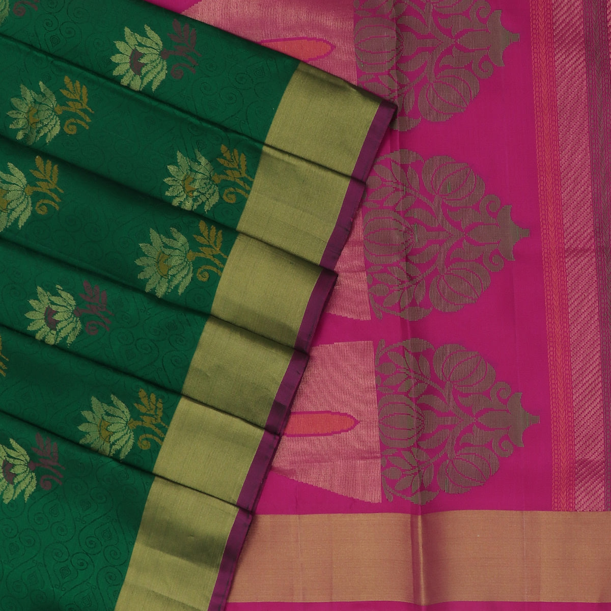 Soft Silk Saree Green and Pink with Emboss design and Simple Zari border