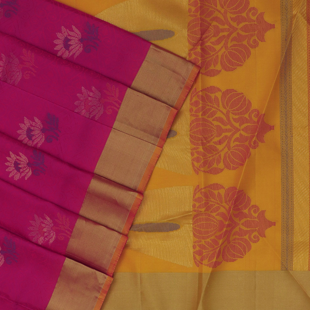 Soft Silk Saree Pink and Mustard with Emboss design and Simple Zari border