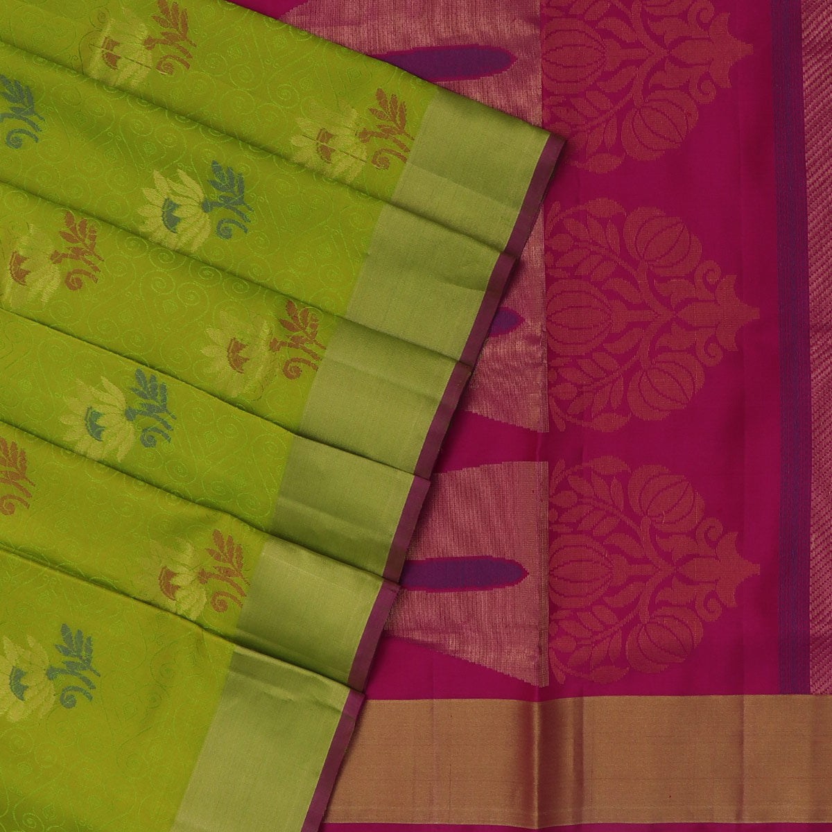 Soft Silk Saree Pista Green and Pink with Emboss design and Simple Zari border