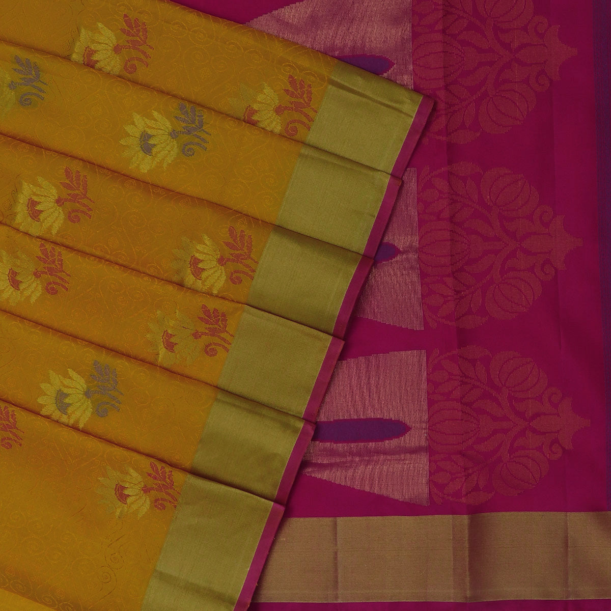 Soft Silk Saree Yellow and Pink with Emboss design and Simple Zari border