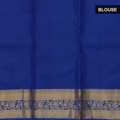Pure Silk Saree Dark Sky Blue and Blue with Emboss and Floral Zari border