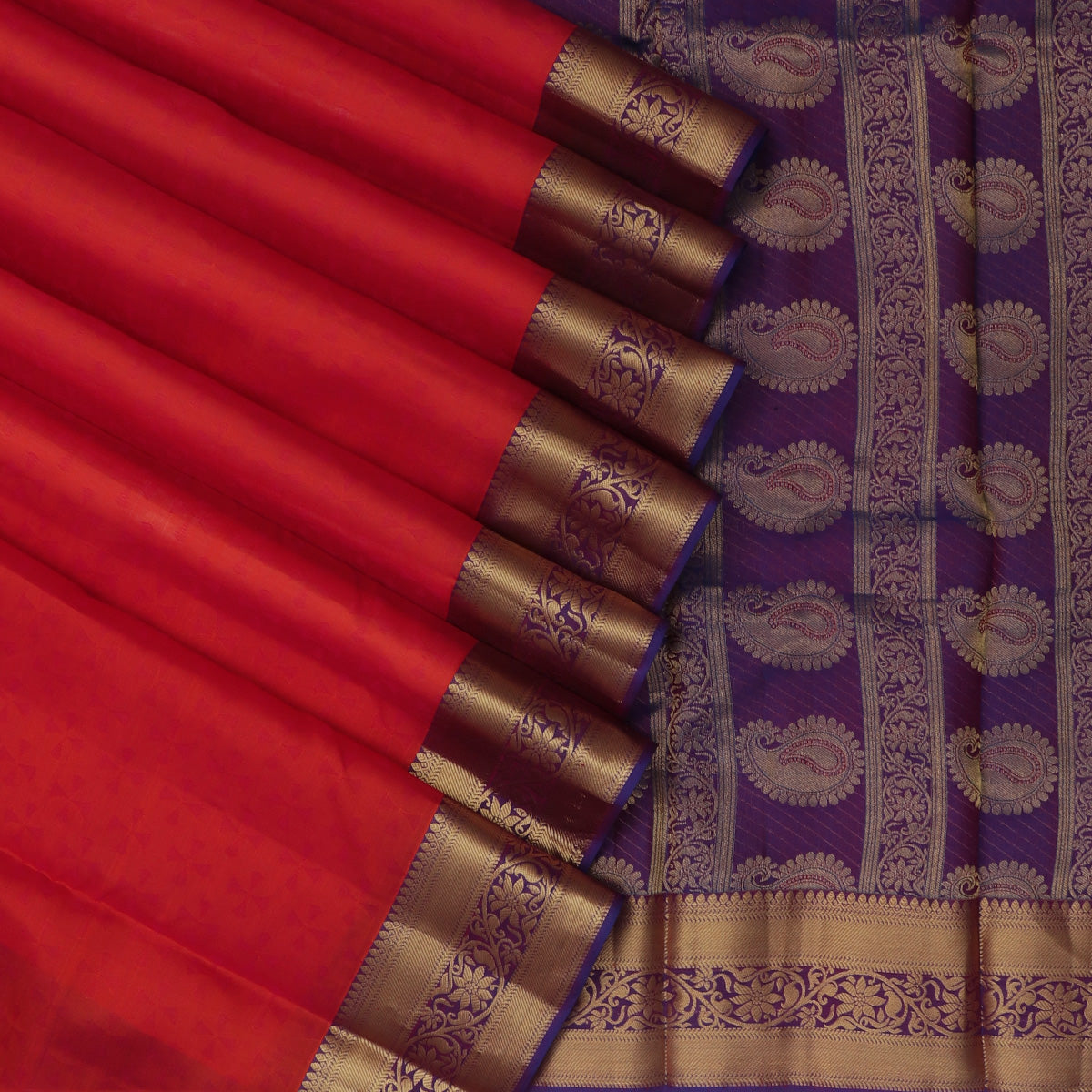 Pure Silk Saree Dark Orange and Violet with emboss and Floral Zari border