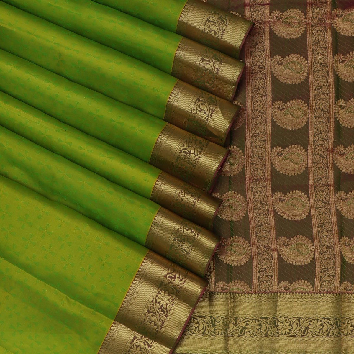 Pure Silk Saree light Green and Light Pink with Emboss and  Floral Zari border