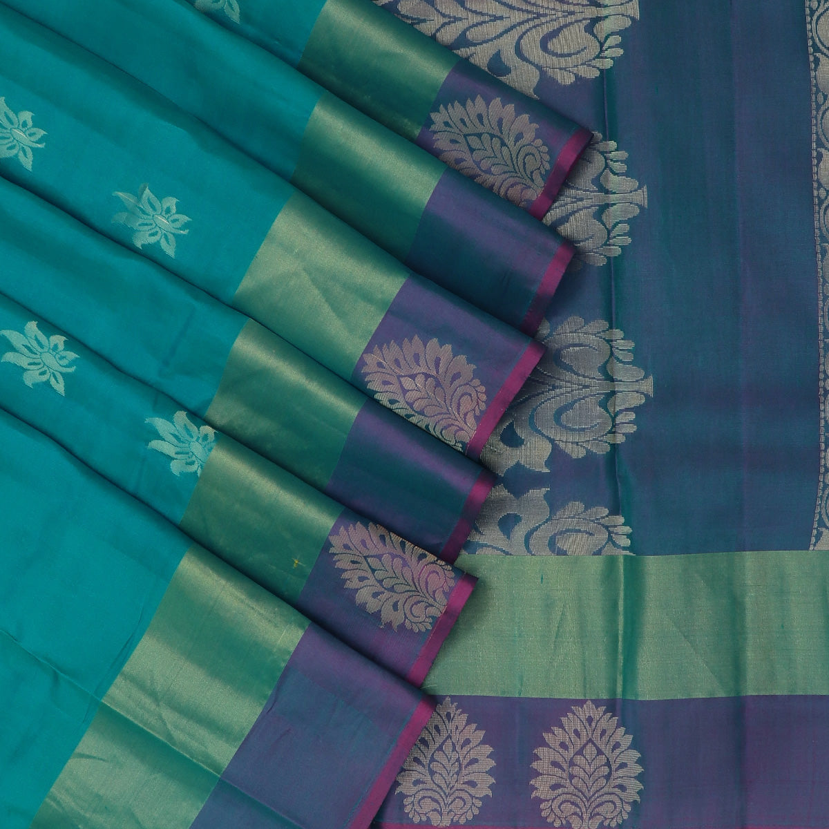 Pure Silk Saree Teal Blue and Purple with Butta and Simple Flower Border