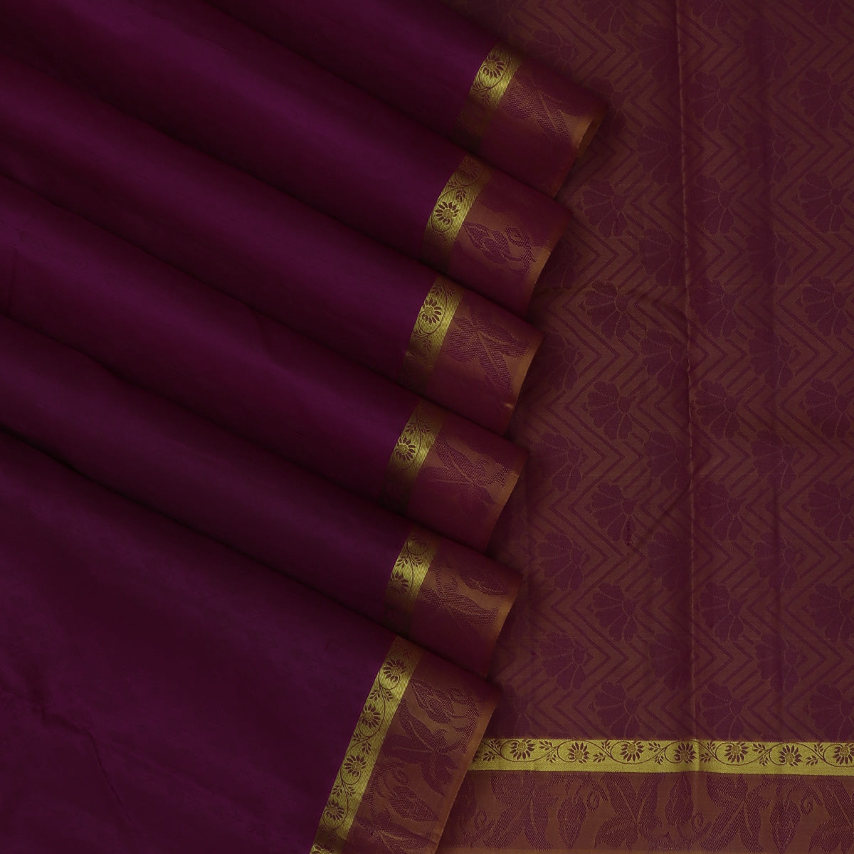 Pure Silk Saree Dark Magenta and Yellow with Emboss and Floral border