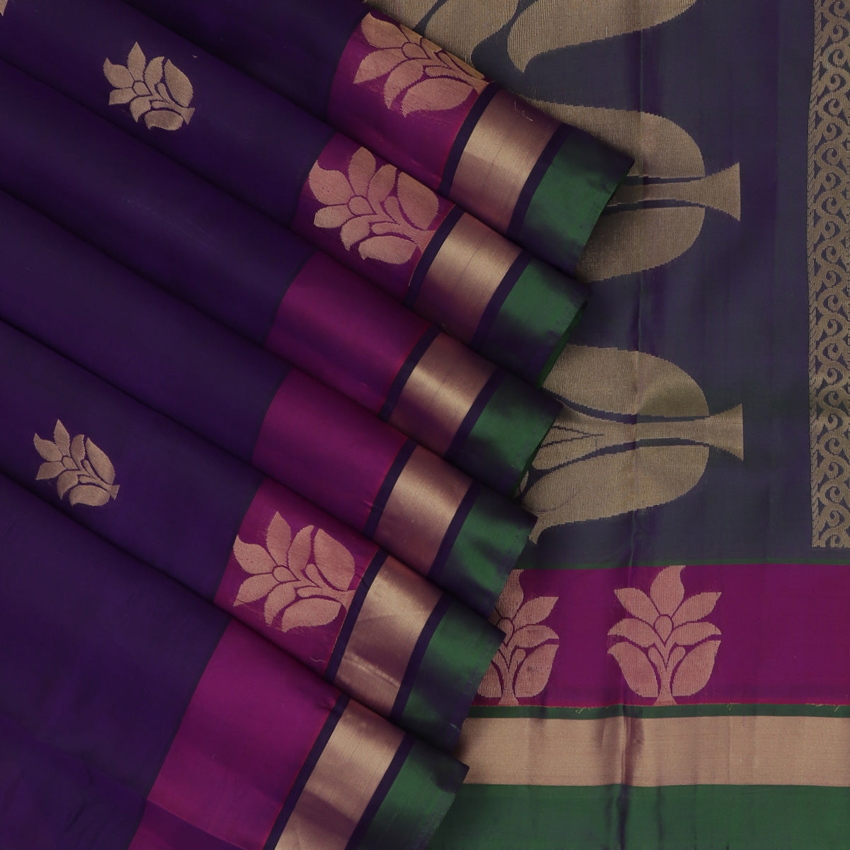 Pure Silk Saree Dark Violet  and Pink with Butta  and Flower border