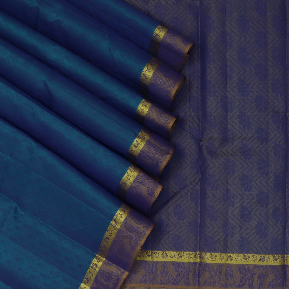 Pure Silk Saree Sky Blue and Yellow Dual Shade with Emboss and Floral border