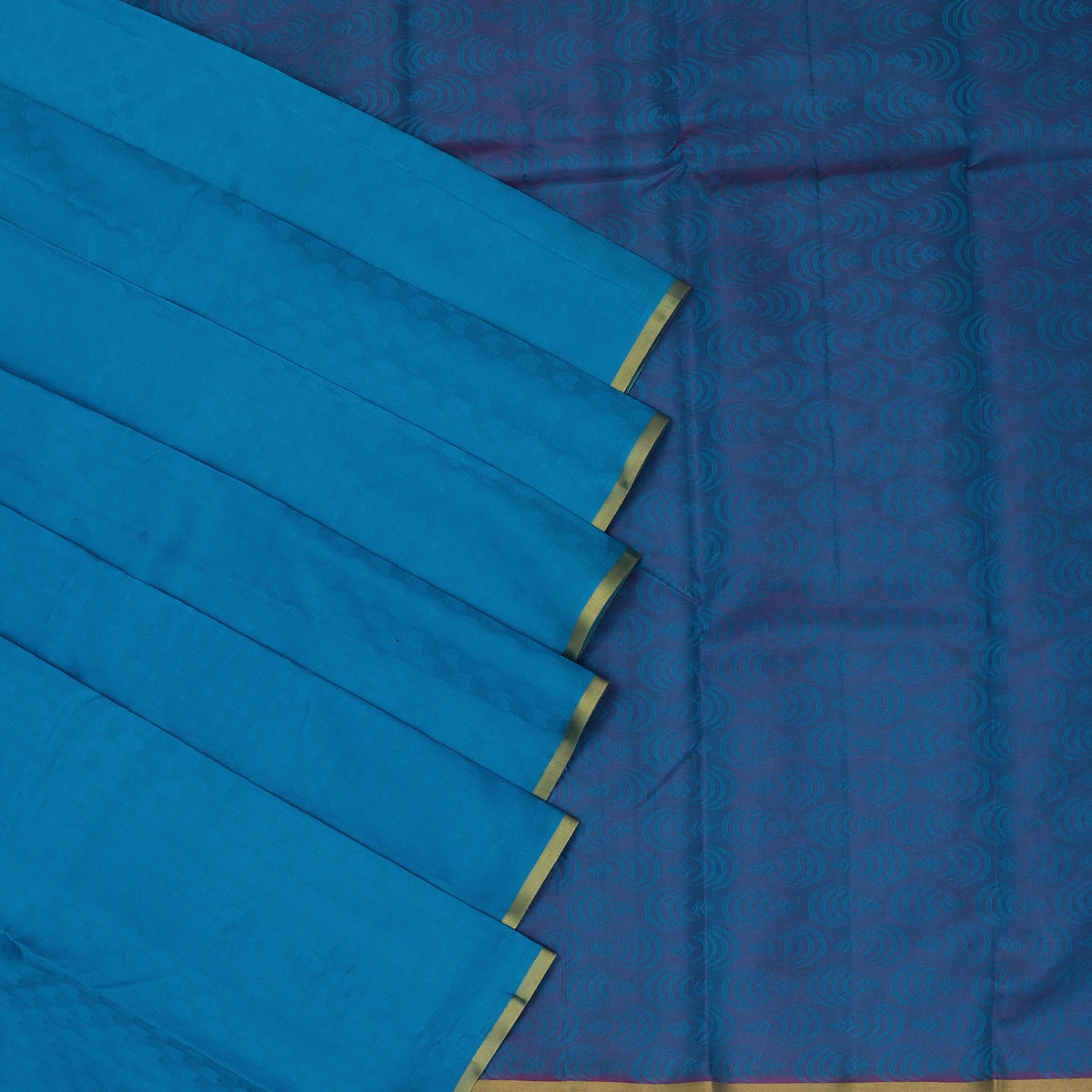 Pure Silk Saree Sky Blue and Purple Dual Shade with Simple border